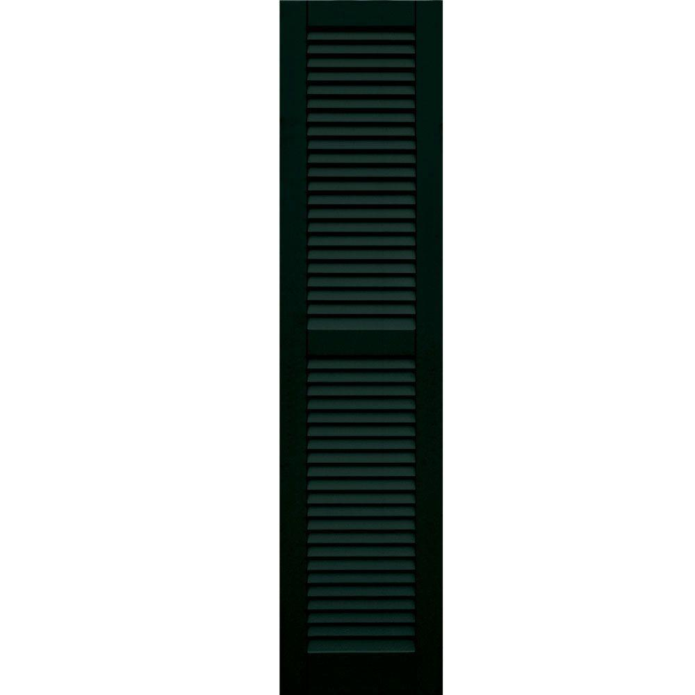 Winworks Wood Composite 15 in. x 64 in. Louvered Shutters Pair #654 Rookwood Shutter Green