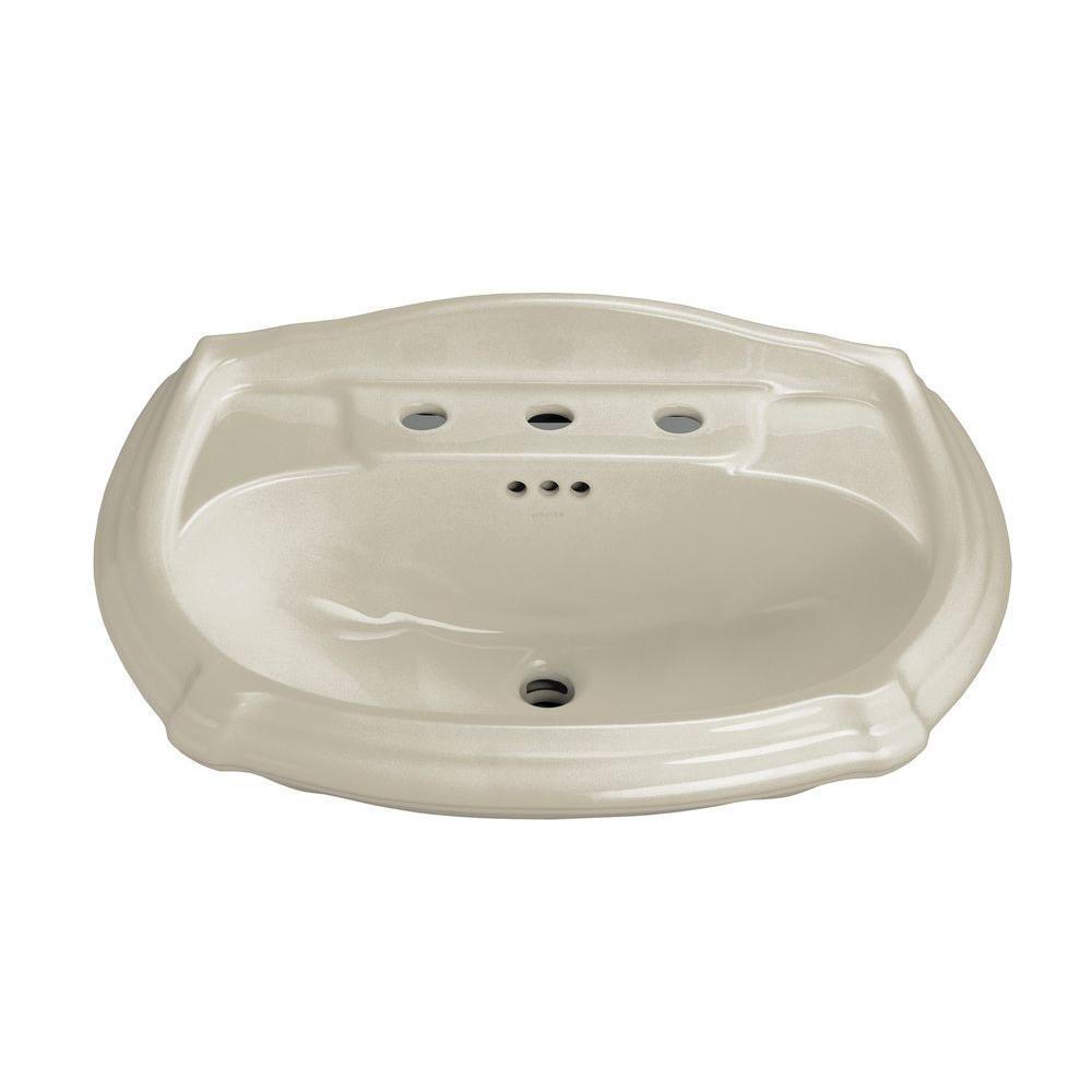 Portrait 7-1/4 in. Vitreous China Pedestal Sink Basin in Sandbar with