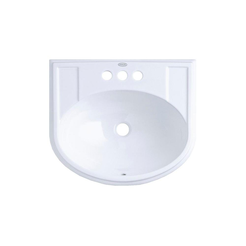 Devonshire Drop-In Vitreous China Bathroom Sink in White with Overflow Drain