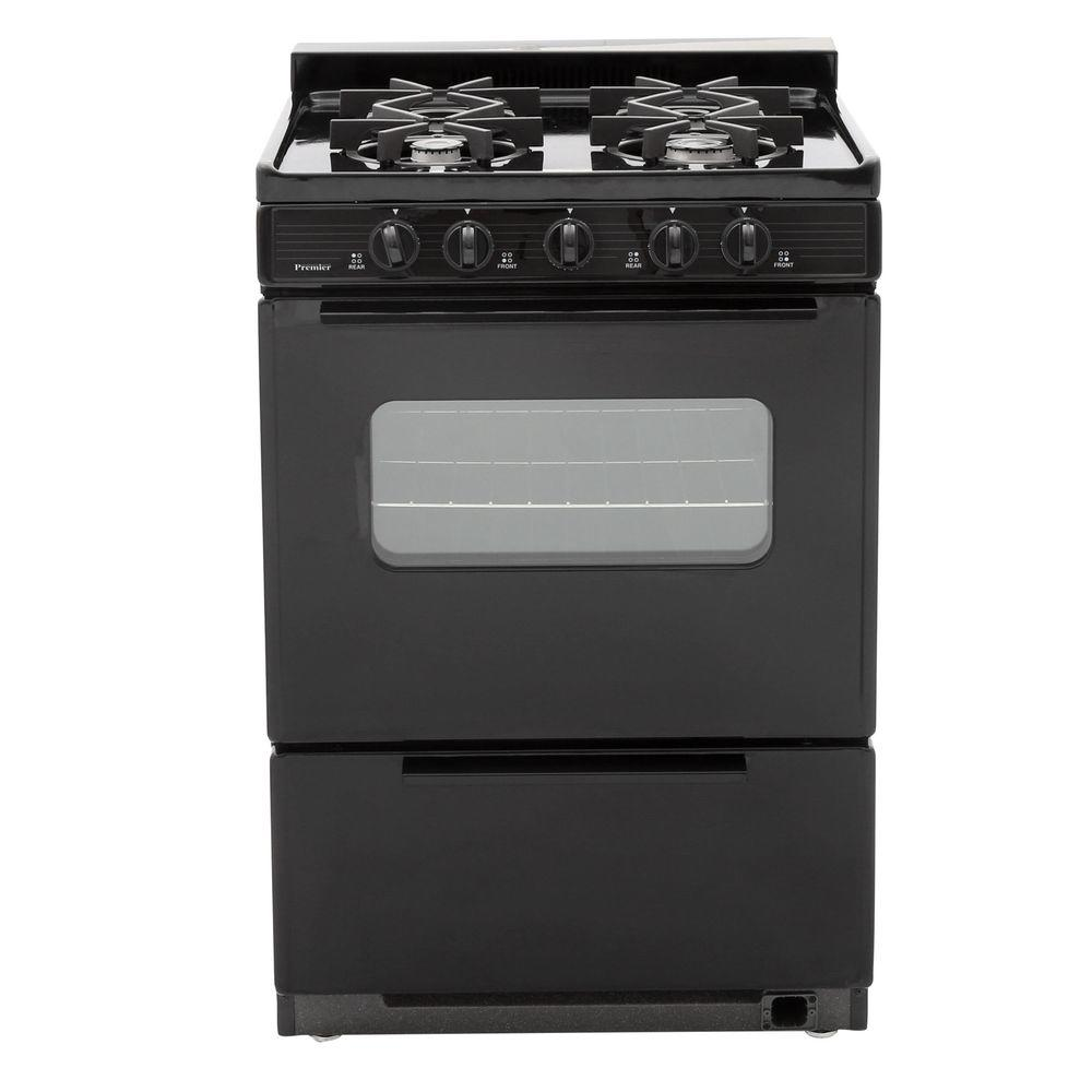 24 in. 2.97 cu. ft. Battery Ignition Gas Range in Black