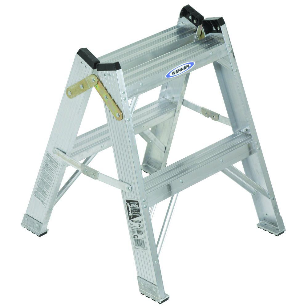 2 ft. Aluminum Twin Step Stool Ladder with 300 lb. Load