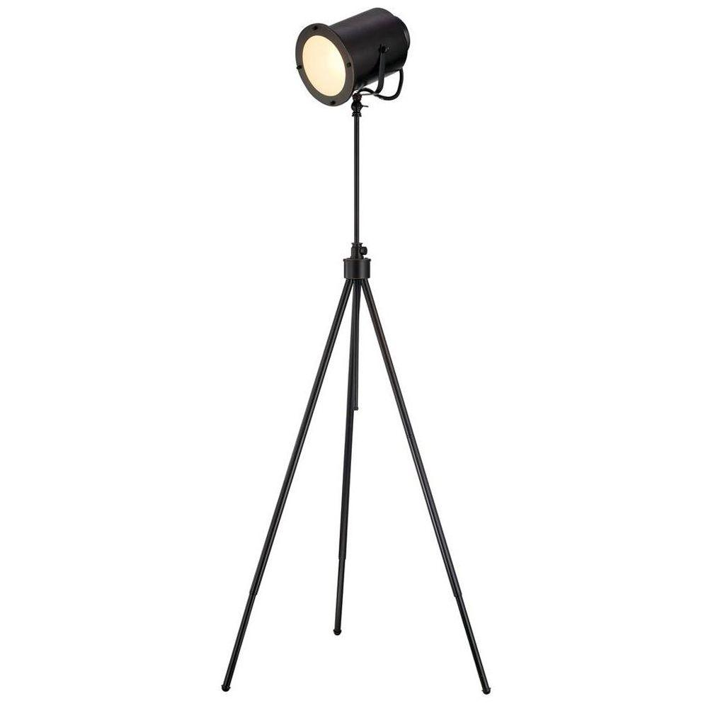 1-Light 61 in. Bronze Floor Lamp with Dark Bronze Metal Shade