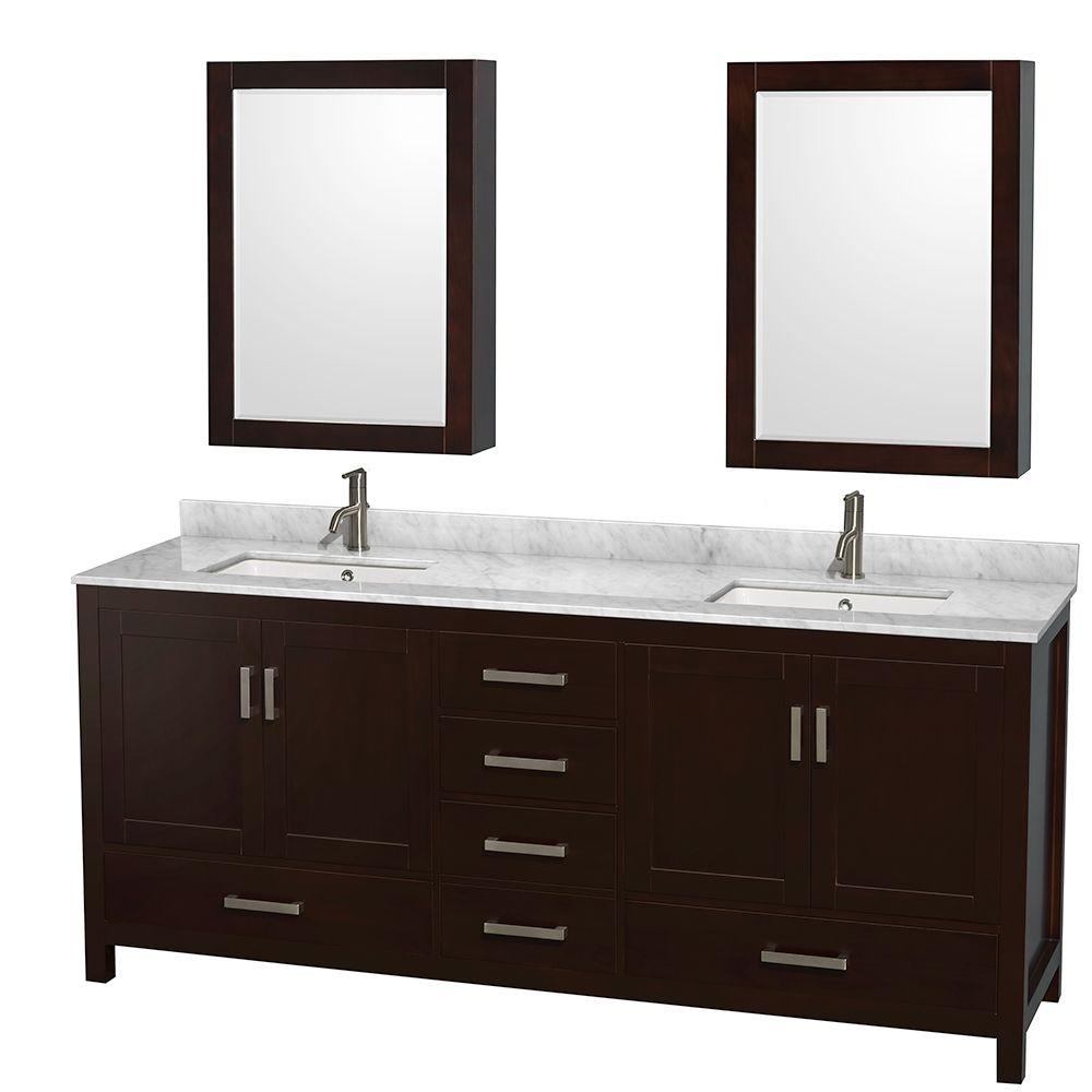 Sheffield 80 in. Double Vanity in Espresso with Marble Vanity Top
