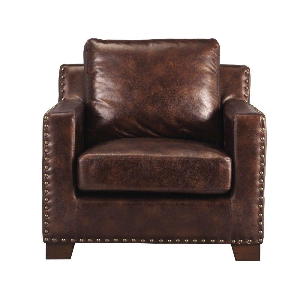 Garrison Leather Arm Chair in Bonded Leather Brown