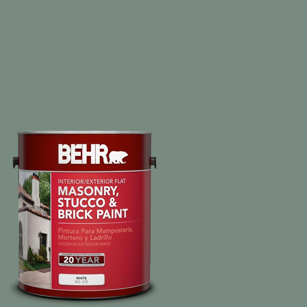 BEHR Premium 1-gal. #MS-61 Frosted Green Flat Interior/Exterior Masonry, Stucco