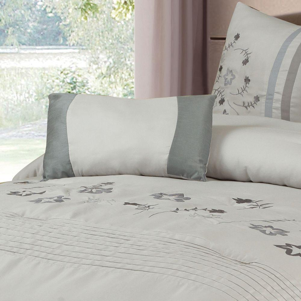 Gray Embroidered Comforter : Lavish home daniela gray embroidered piece king