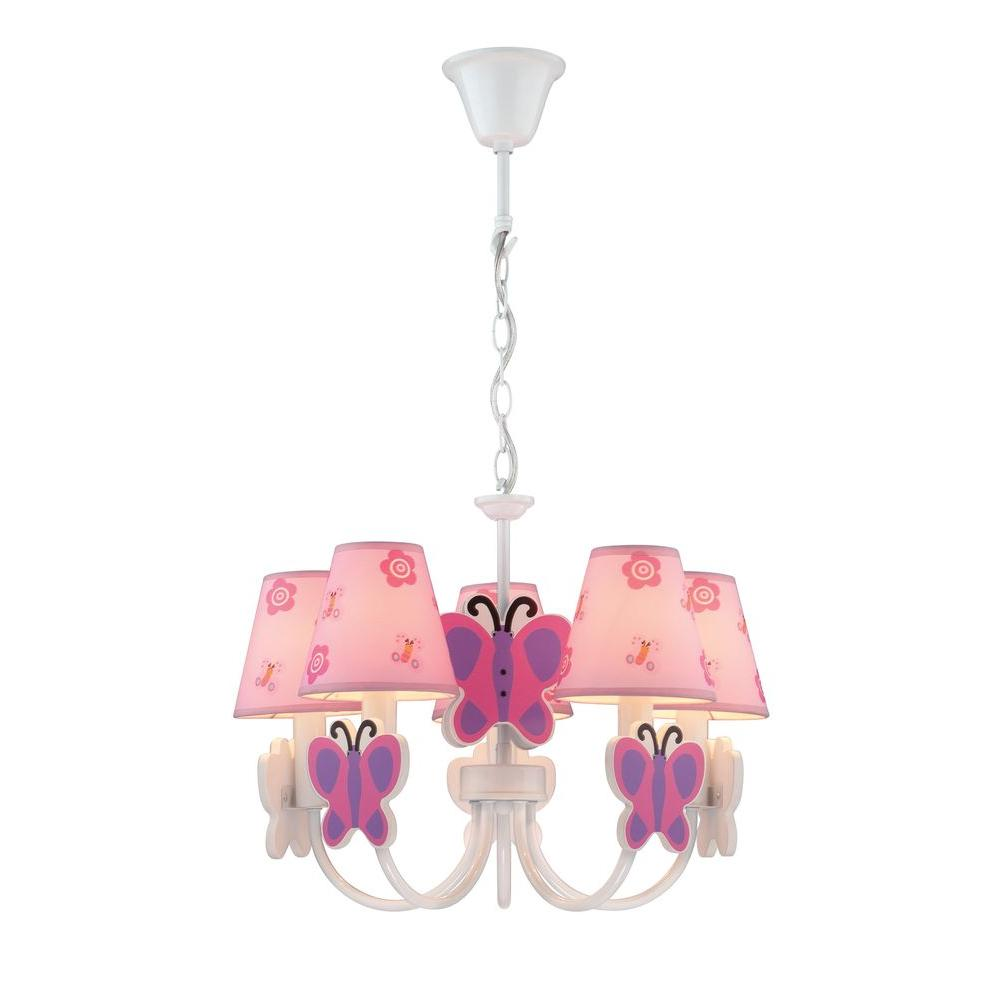 Illumine 5-Light Bronze Chandelier with Pink Fabric Shade
