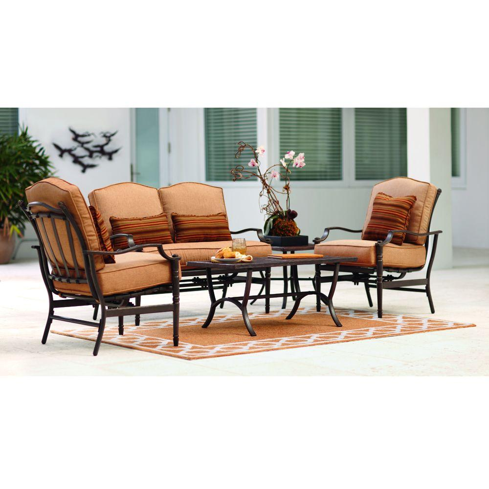 Home Decorators Collection Cypress 4-Piece Brown Patio Seating Set-DISCONTINUED