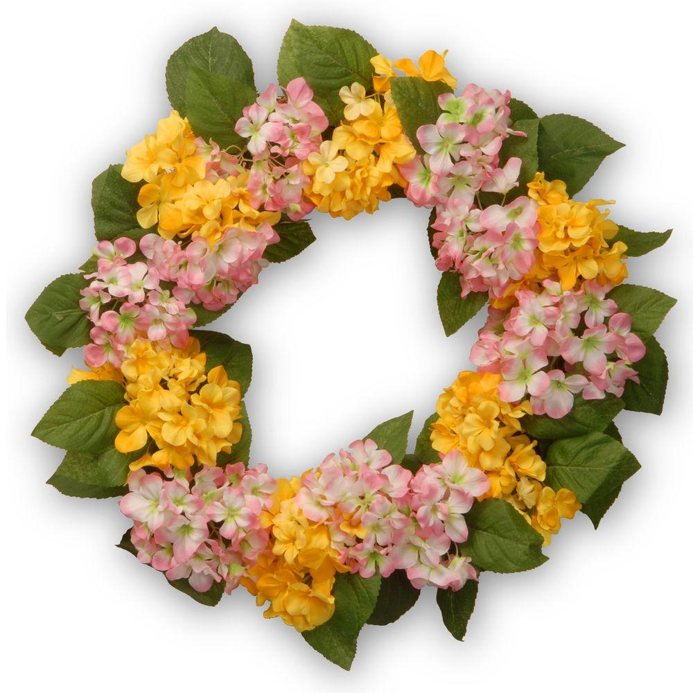 24 in. Yellow and Pink Hydrangea Wreath