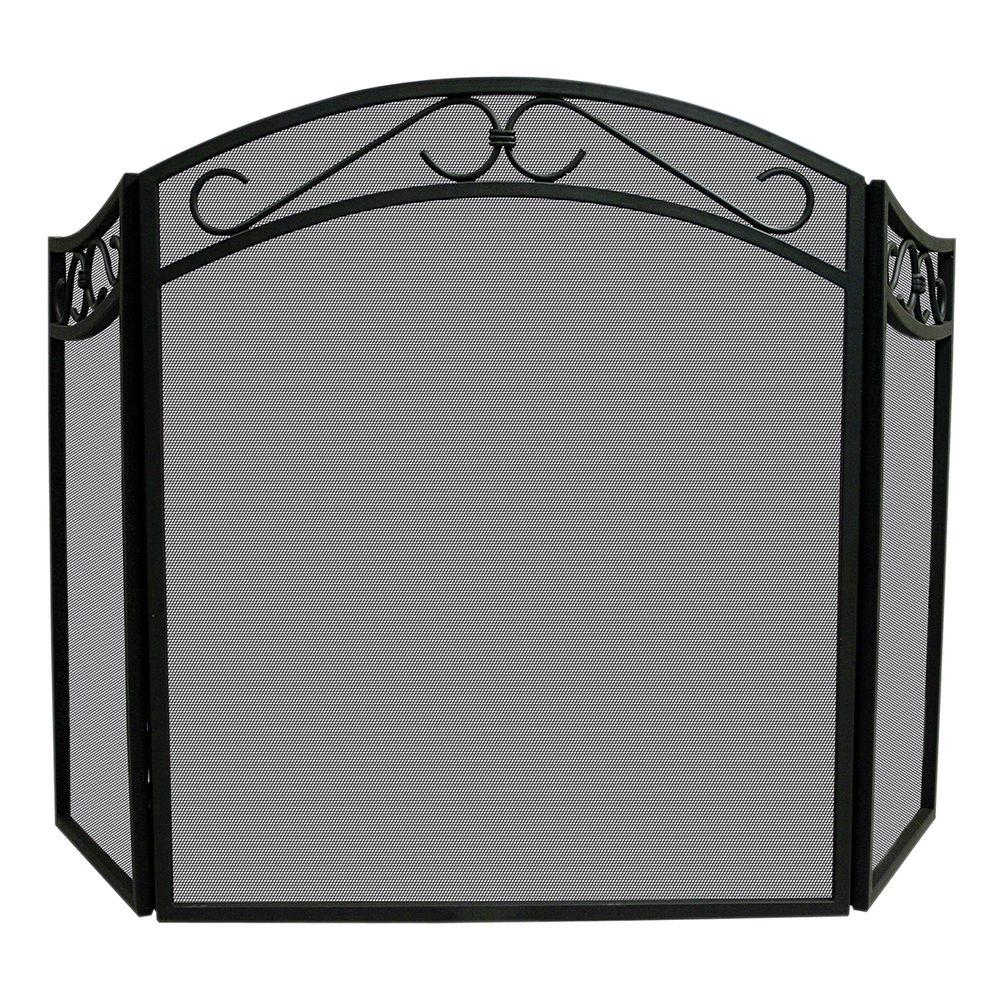 Arch Top Black Wrought Iron 3-Panel Fireplace Screen with Decorative Scrolls