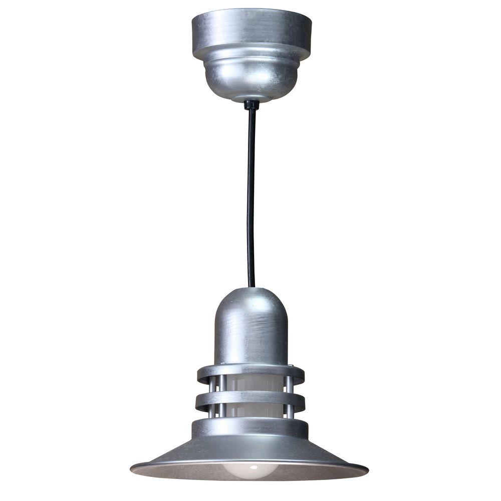 Illumine 1-Light Galvanized Orbitor Shade Pendant with Frosted Glass