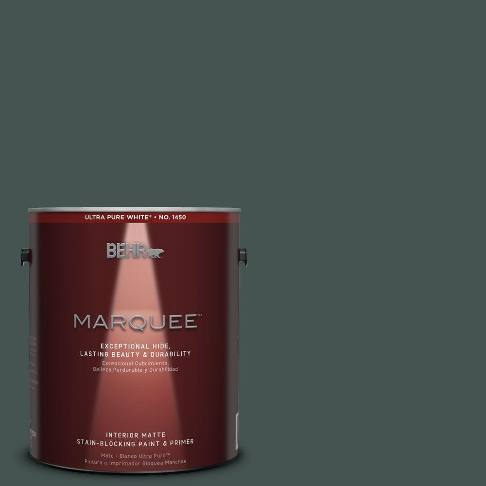 1 gal. #MQ6-44 Black Evergreen One-Coat Hide Matte Interior Paint