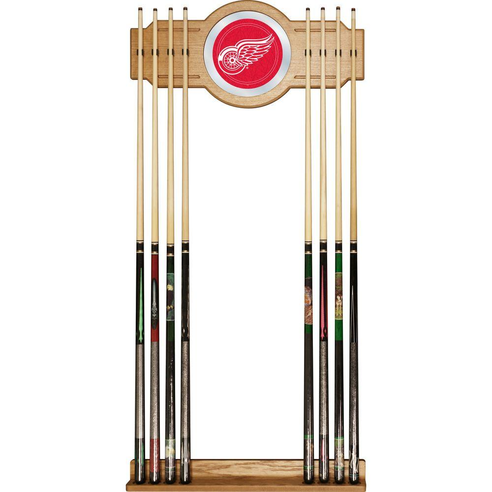 Trademark NHL Detroit Redwings 30 in. Wooden Billiard Cue Rack with Mirror
