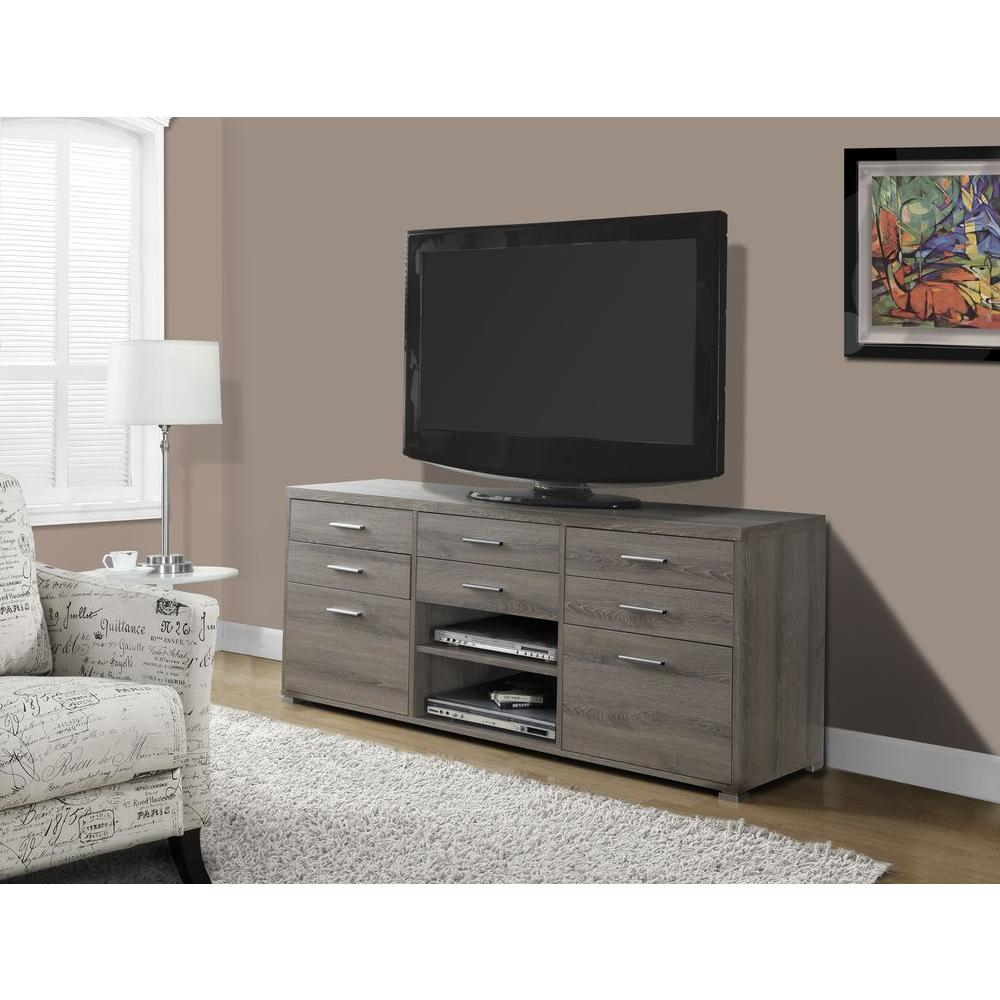 Monarch Specialties 60 in. L TV Console with 8-Drawer in Dark