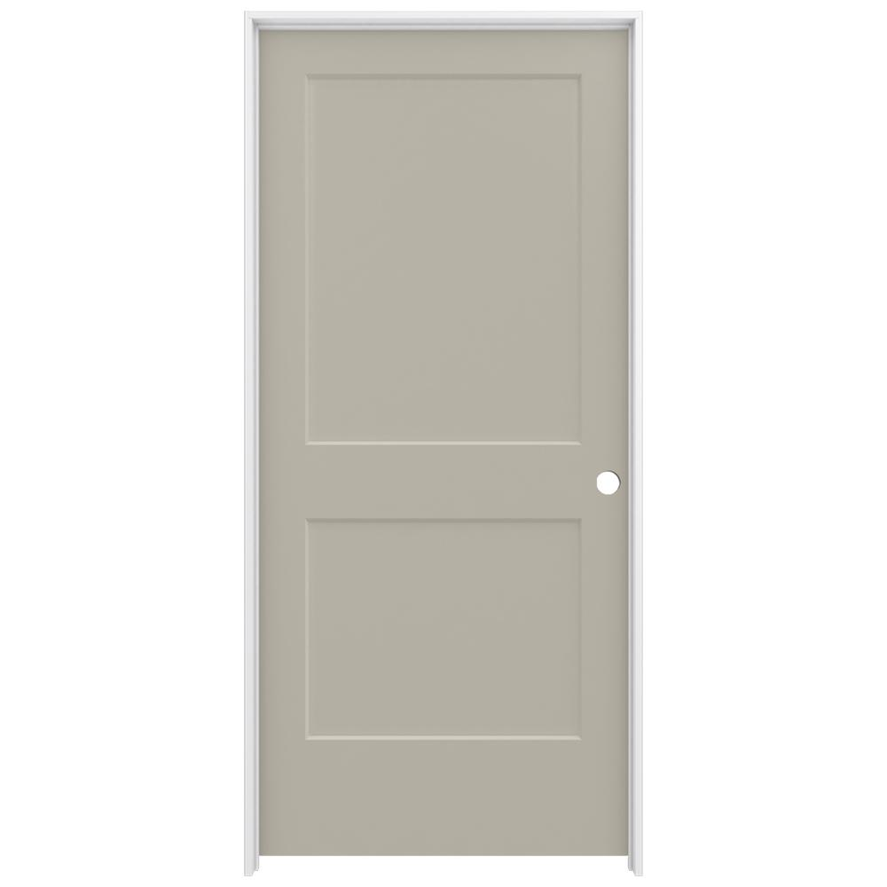 Jeld wen 36 in x 80 in smooth 2 panel desert sand solid core molded composite single prehung for Jeld wen molded interior doors