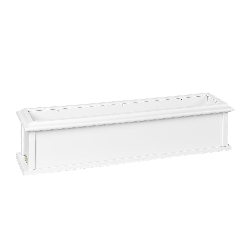 Charleston 36 in. x 9 in. White Vinyl Window Box (2-Brackets)