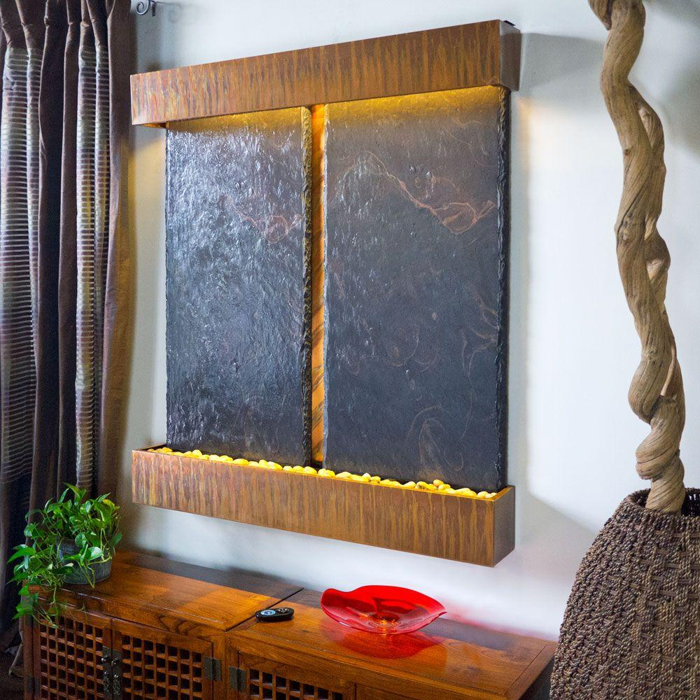 double nojoqui falls lightweight slate wall fountain in copper patina trim - Slate Wall Fountains Indoor