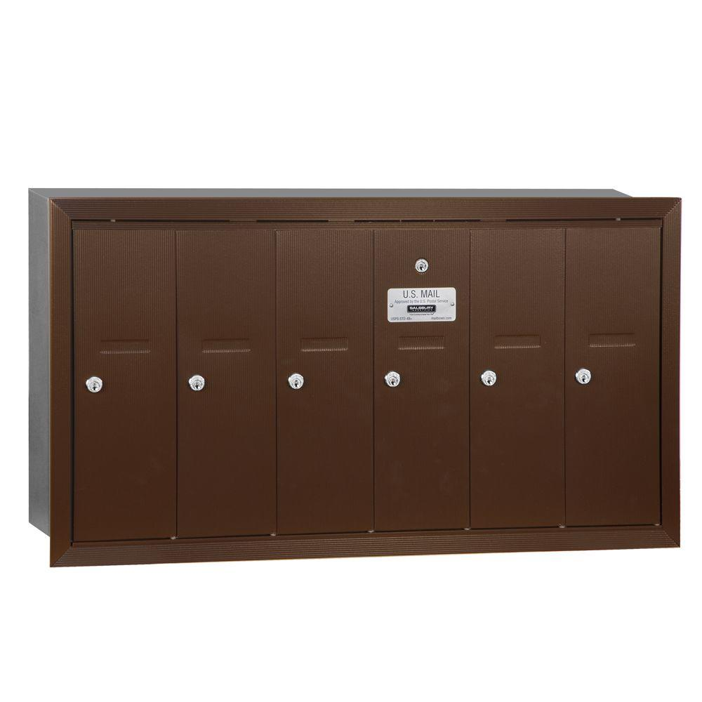 Bronze Recessed-Mounted USPS Access Vertical Mailbox with 6 Doors