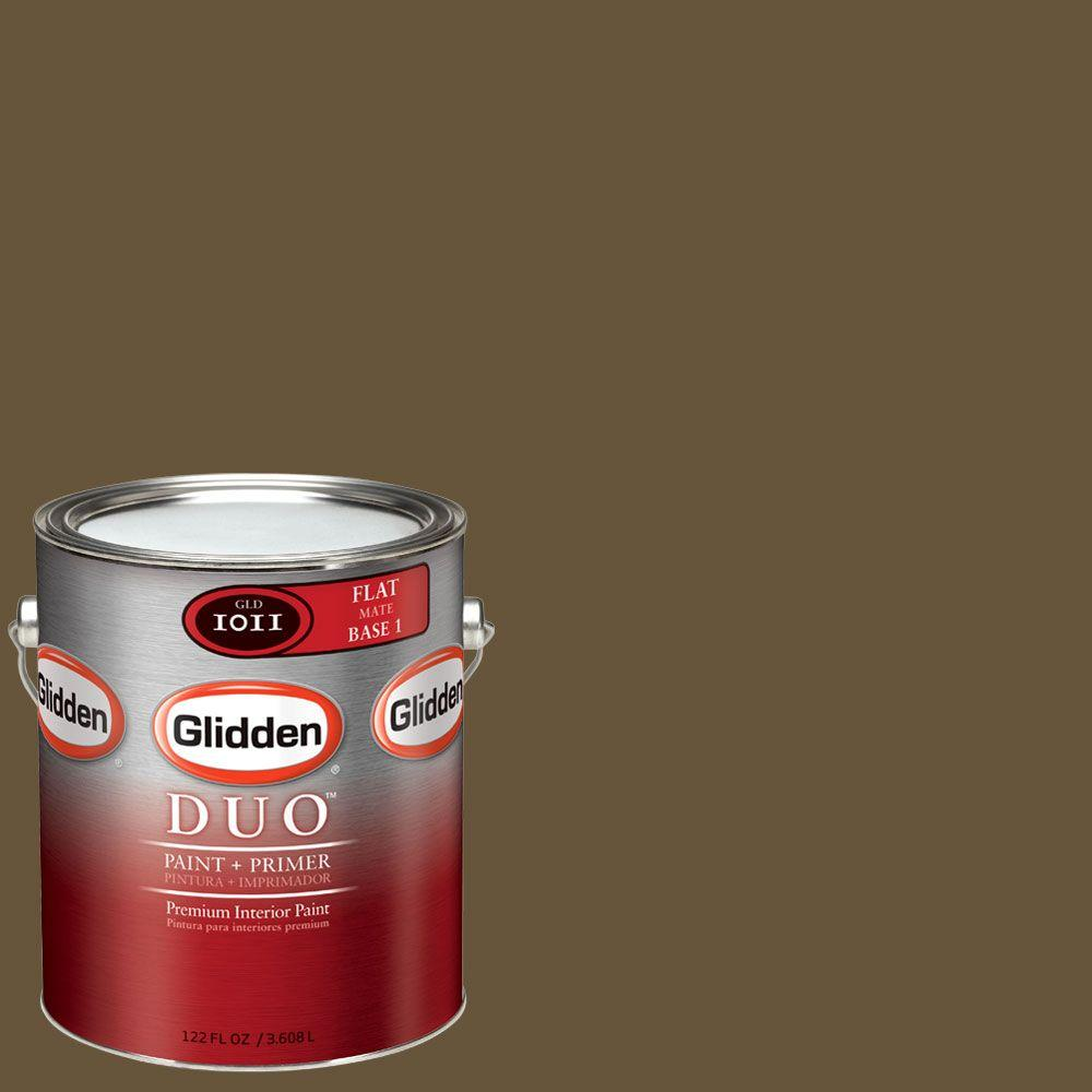 Glidden DUO 1-gal. #GLN26-01F Leather Brown Flat Interior Paint with Primer