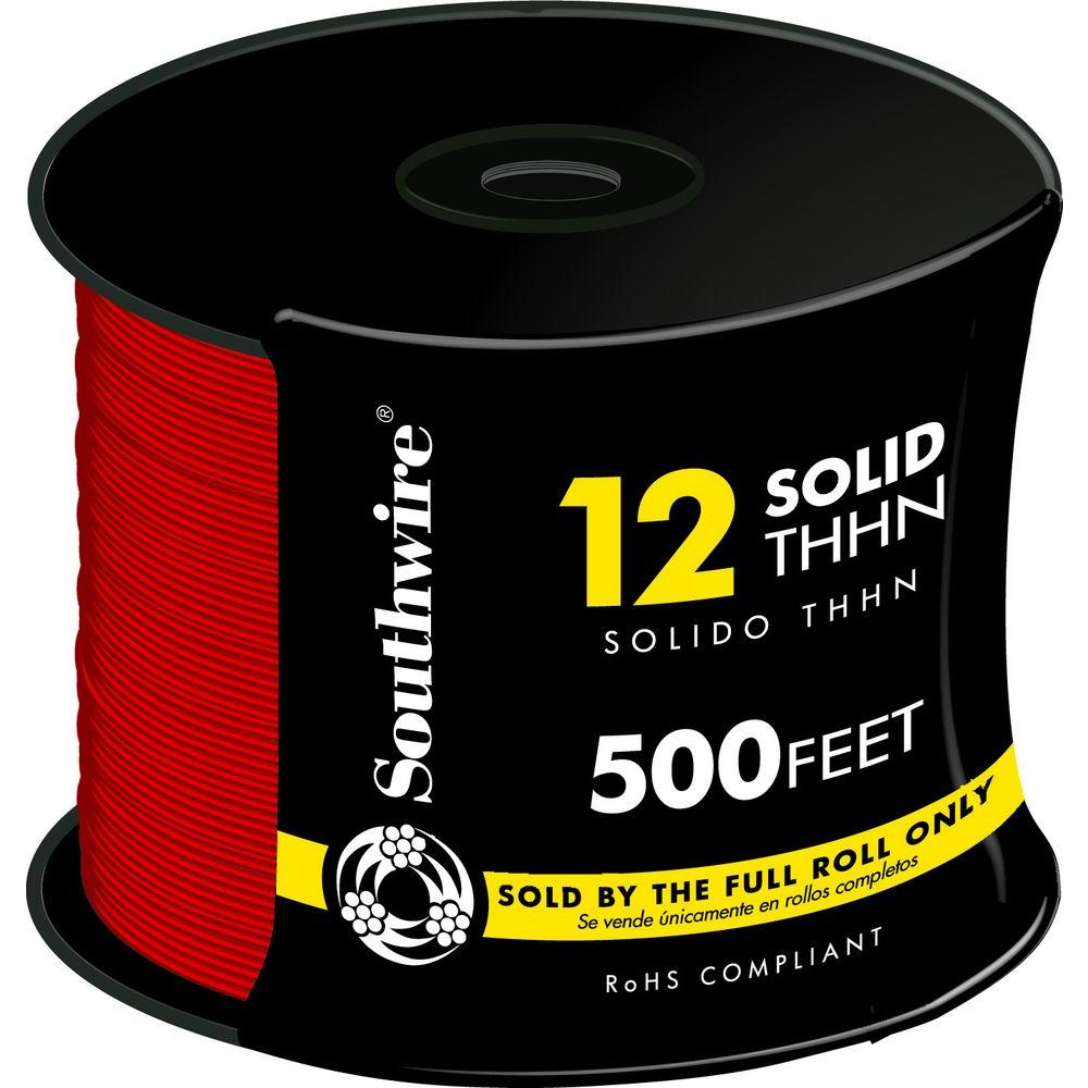 Southwire 500 ft. 12 Red Solid THHN Wire-11589958 - The Home