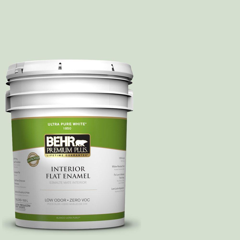 BEHR Premium Plus 5-gal. #440E-2 Herbal Mist Zero VOC Flat Enamel Interior Paint-DISCONTINUED