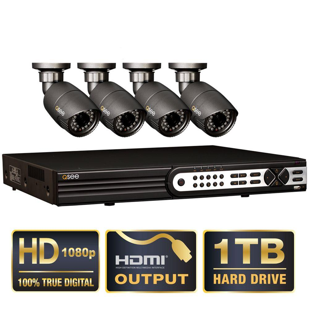 Q-SEE Platinum Series 4-CH HD-SDI 1TB Hard Drive Surveillance System with 4 Full HD 1080p Security Cameras-DISCONTINUED