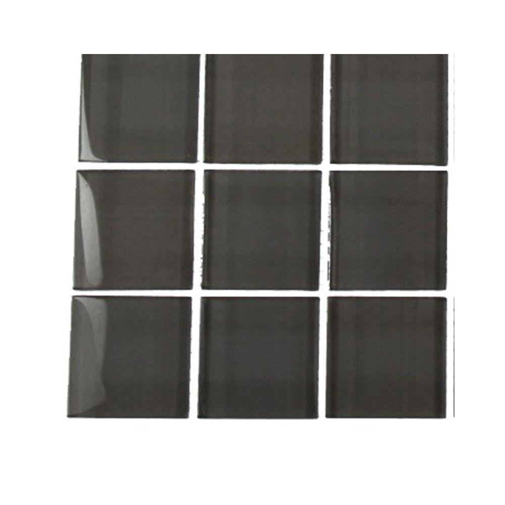 Splashback Tile Contempo Smoke Gray Polished Glass Tile - 3 in.