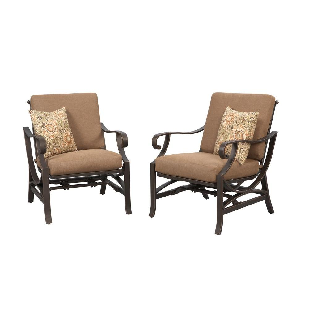 Hampton Bay Pine Valley Patio Deep Seating Chair with Linen Spice Cushion (2-Pack)