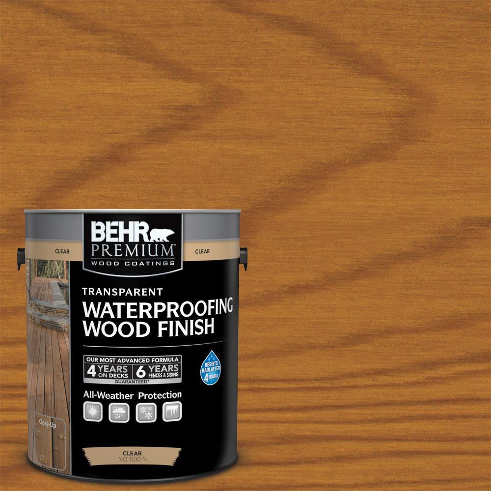 BEHR Premium 1 gal. Natural Clear Transparent Waterproofing Wood Finish