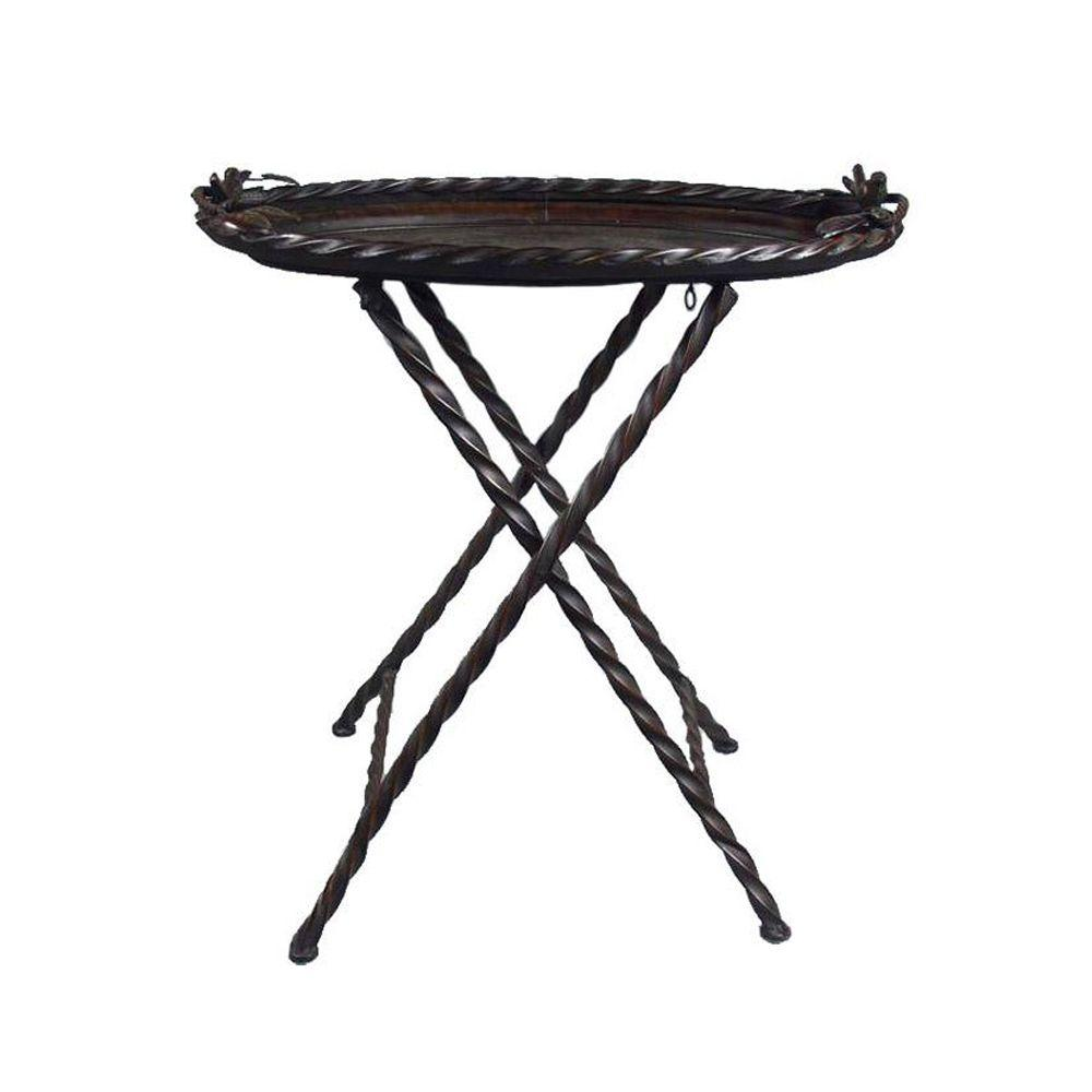 Home Decorators Collection 29 in. W Westley Rust Brown Folding Table-DISCONTINUED
