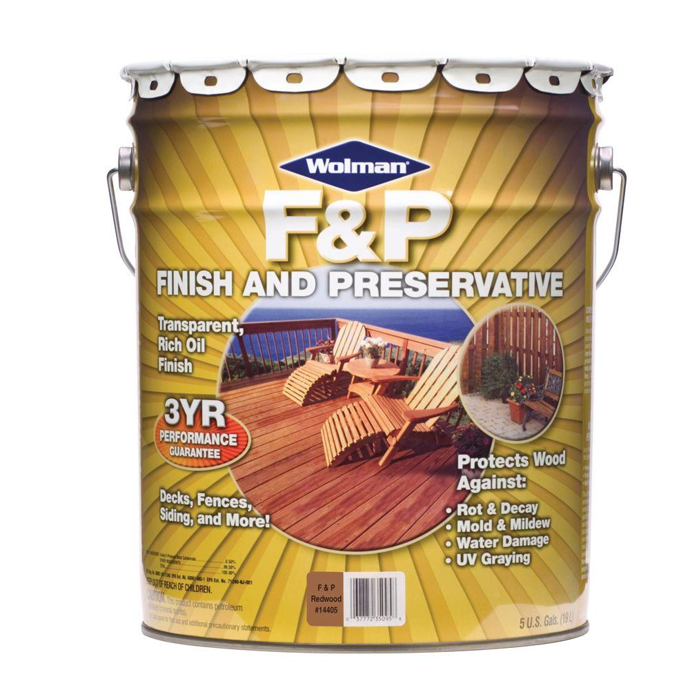 F&P Finish & Preservative 5-gal. Transparent Redwood Deep-Penetrating Exterior Wood Stain-DISCONTINUED