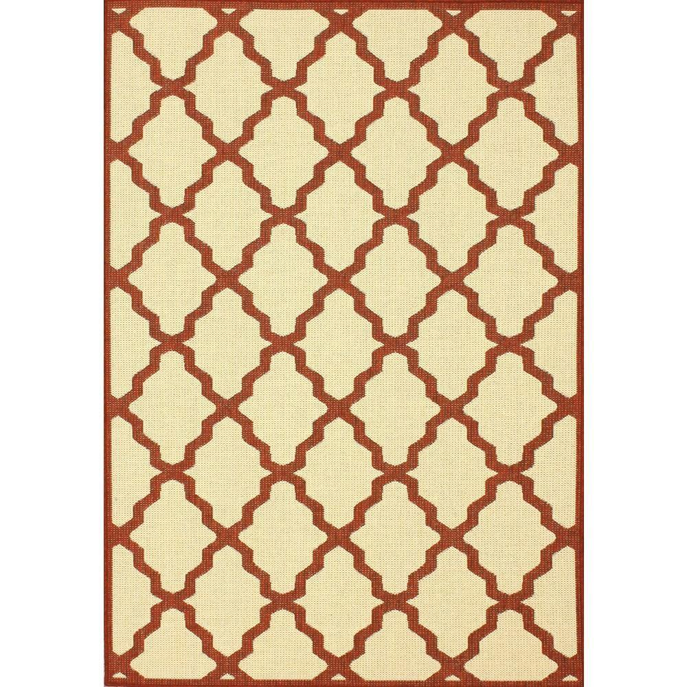 Gina Moroccan Trellis Red 7 ft. 6 in. x 10 ft. 9 in. Outdoor Area Rug