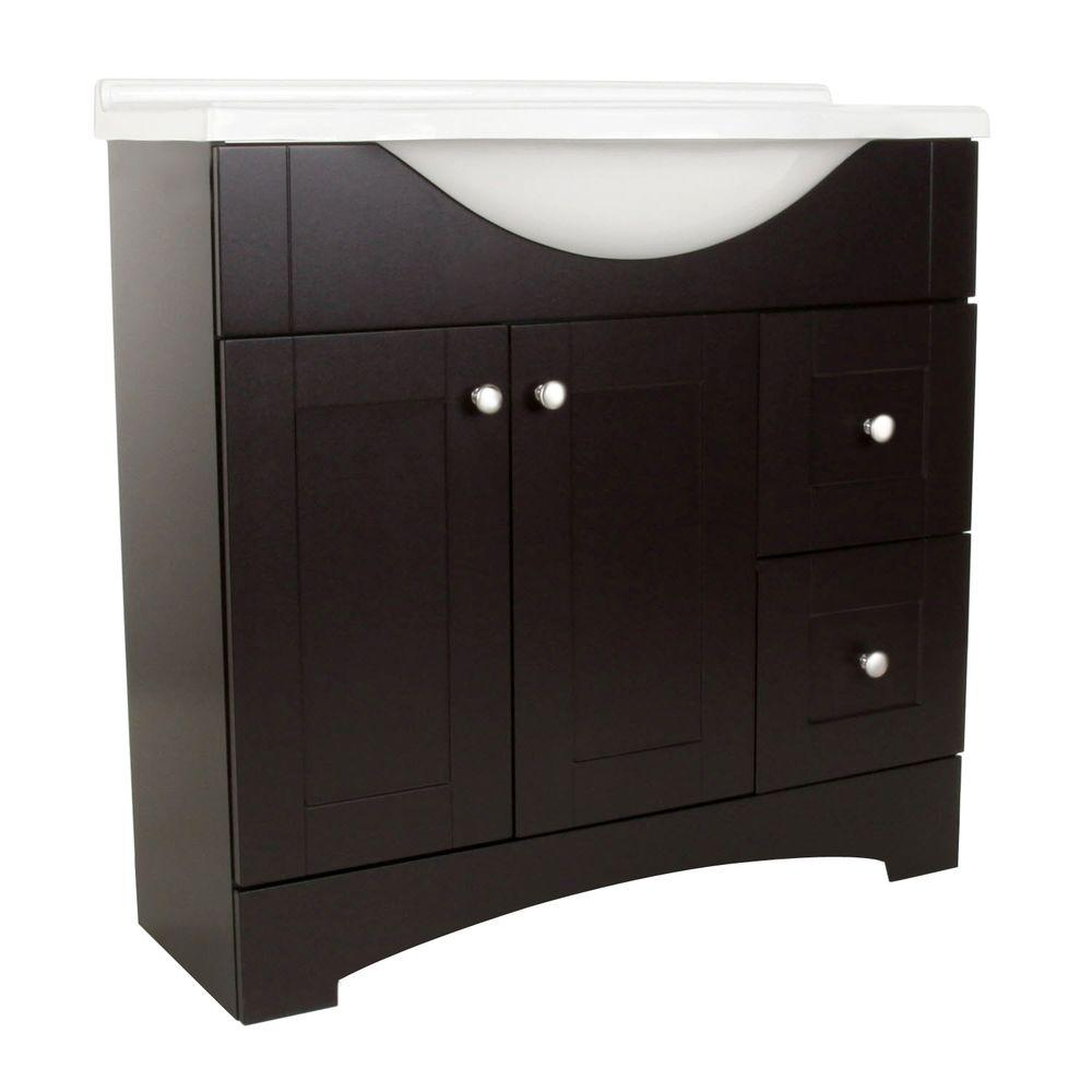 Glacier Bay Del Mar 36 in. W Vanity with AB Engineered Composite Vanity Top in Espresso