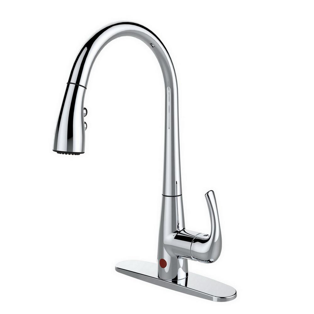 Single-Handle Pull-Down Sprayer Kitchen Faucet, Hands-Free in Chrome