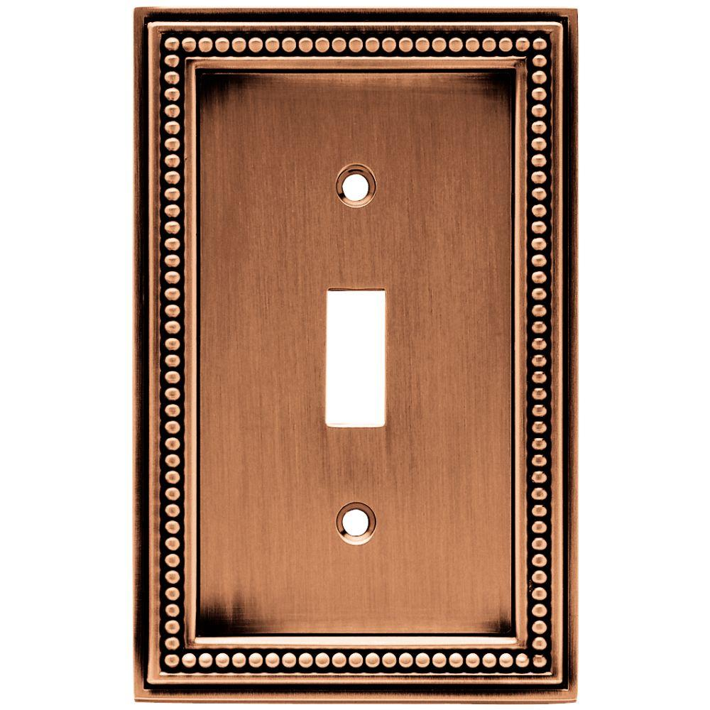 Beaded Decorative Single Switch Plate, Aged Brushed Copper