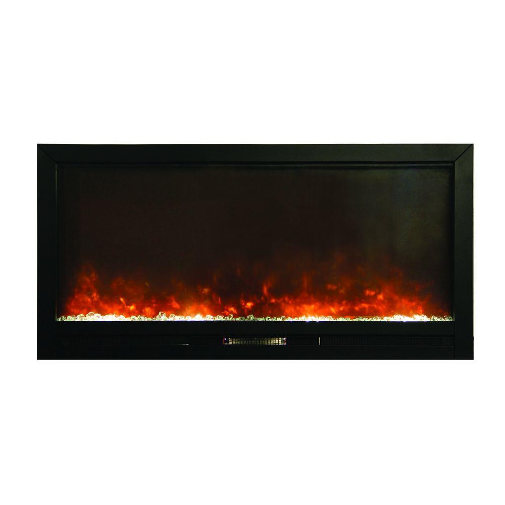 Yosemite Home Decor 50 In Wall Mount Electric Fireplace In Black Df Efp1270 Blt The Home Depot