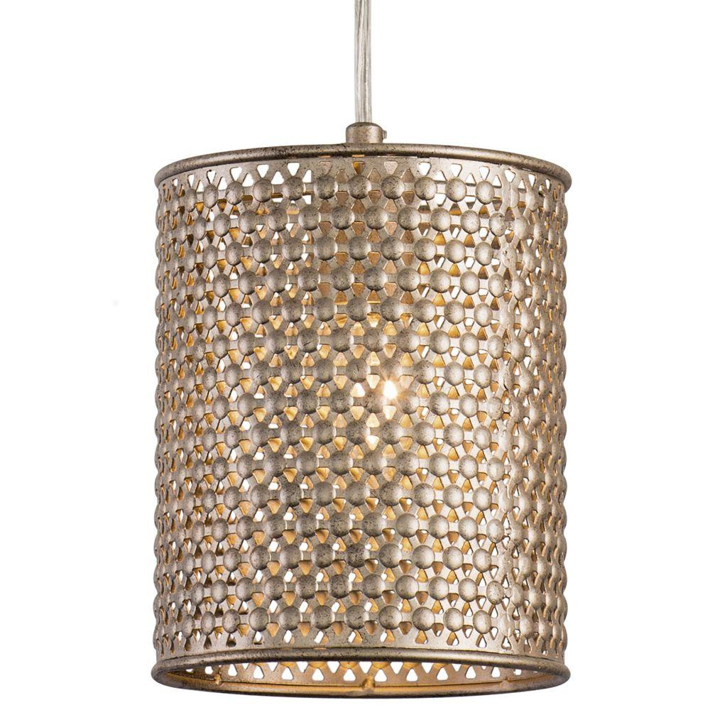 Casablanca 1-Light Zen Gold Mini Pendant with Recycled Steel Mesh Shade