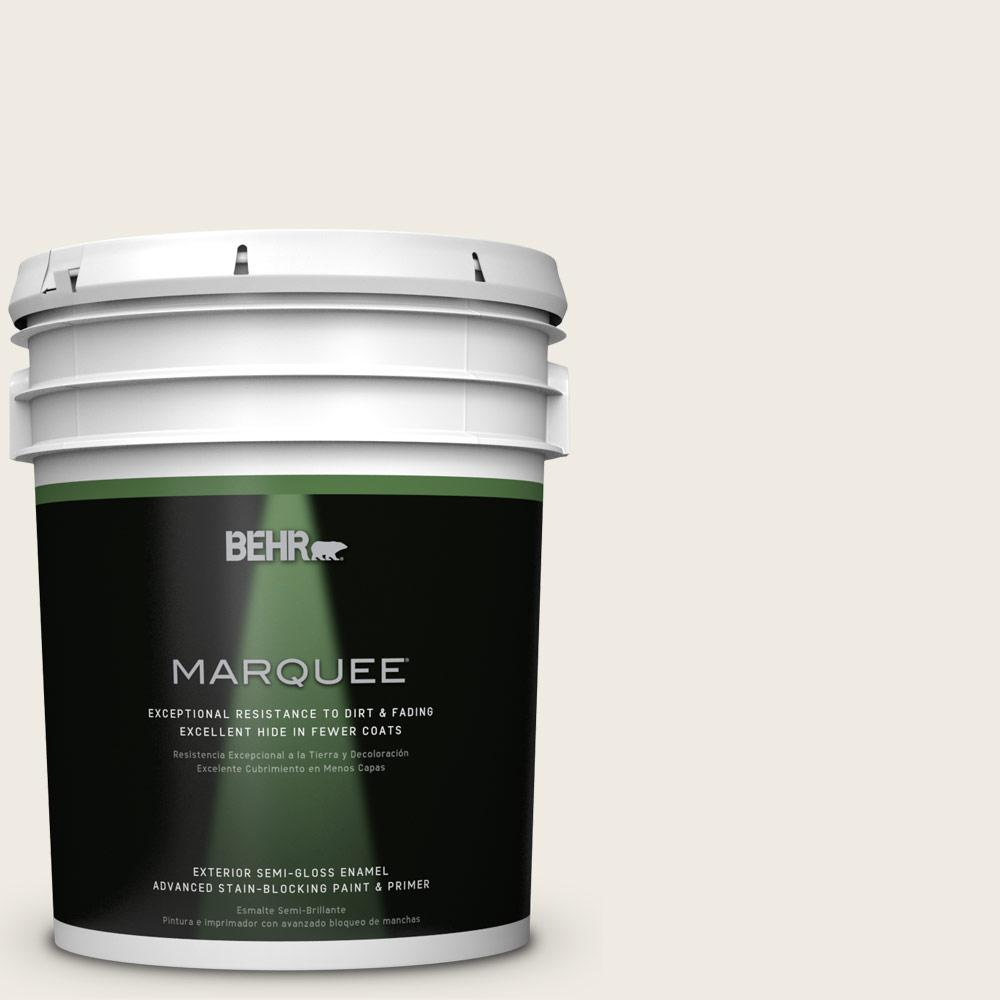 BEHR MARQUEE 5-gal. #QE-01 Jet White Semi-Gloss Enamel Exterior Paint-545005 -