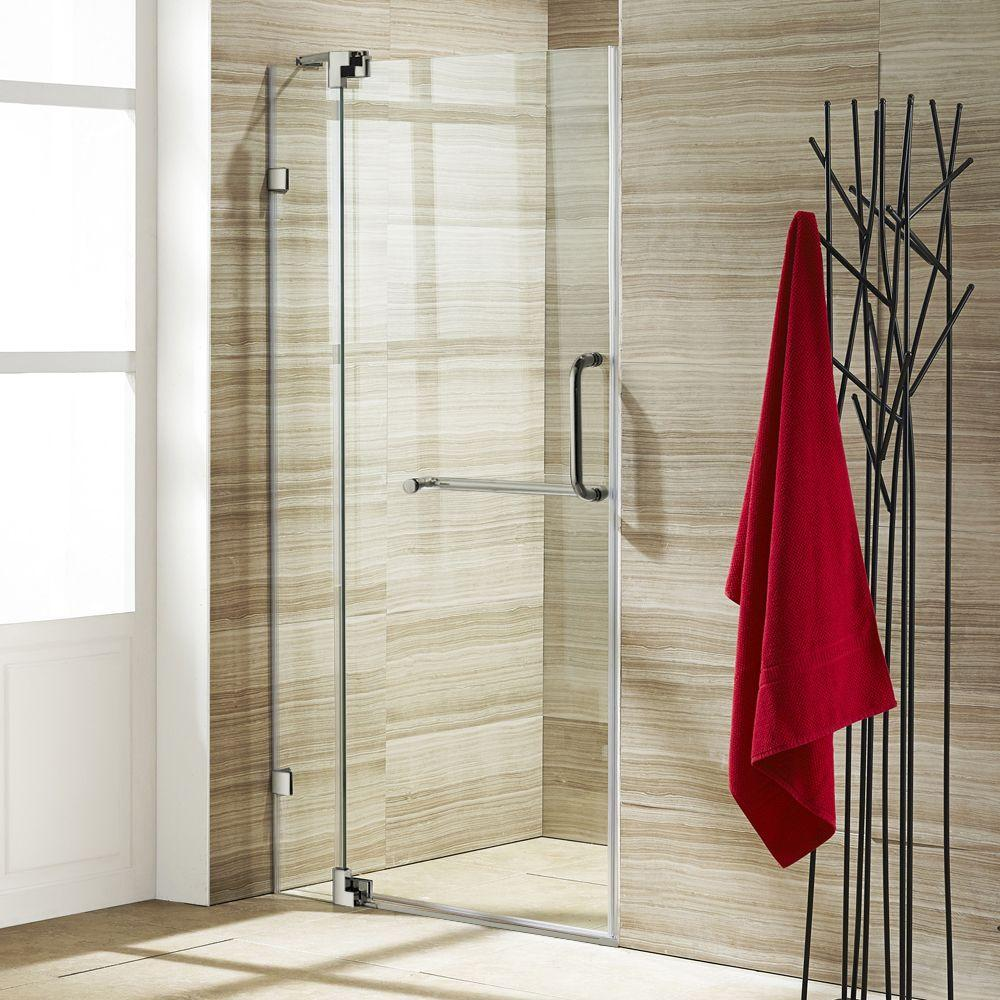 36 in. to 42 in. x 74 in. Semi-Framed Pivot Shower Door in Brushed Nickel with Clear Glass