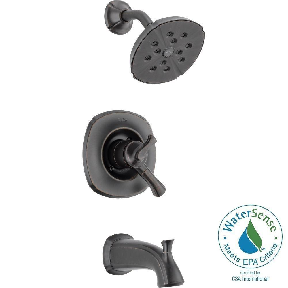 Delta Addison 1-Handle H2Okinetic Tub and Shower Faucet Trim Kit in