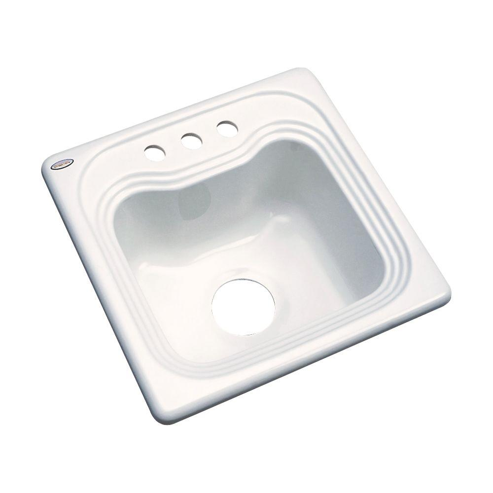 Thermocast Oxford Drop-In Acrylic 16 in. 3-Hole Single Bowl Entertainment Sink in Biscuit