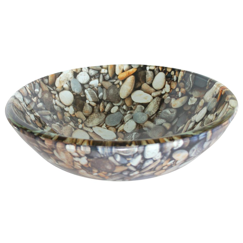 Eden Bath Natural Pebble Pattern Glass Vessel Sink In Multi Colors With Pop Up Drain And Mounting Ring In Chrome, Gray/black/tan/white/orange