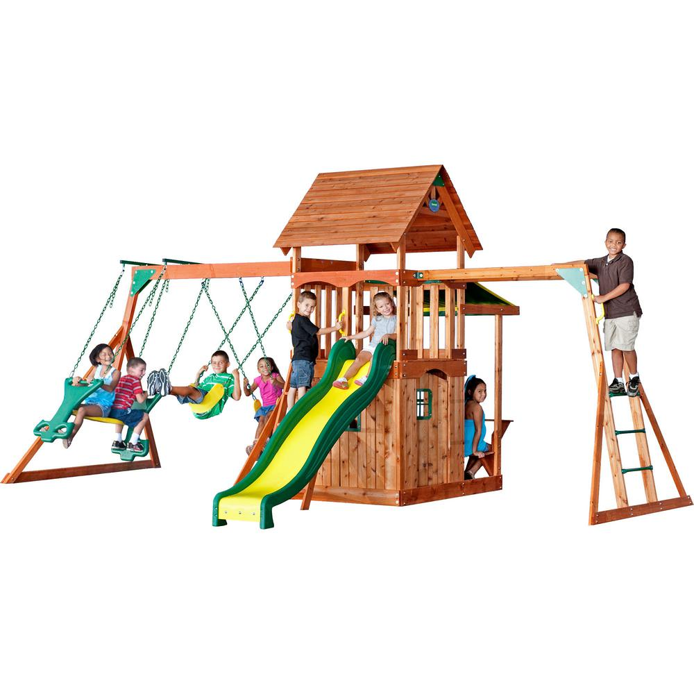 Backyard Discovery Saratoga All Cedar Playset, Browns/Tans