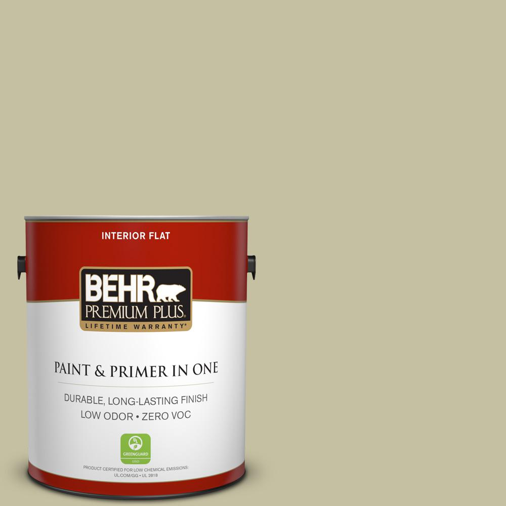 BEHR Premium Plus 1-gal. #S350-3 Washed Olive Flat Interior Paint