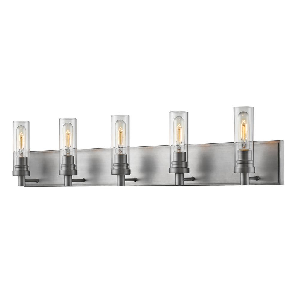 Logan 5-Light Old Silver Bath Light with Clear Glass