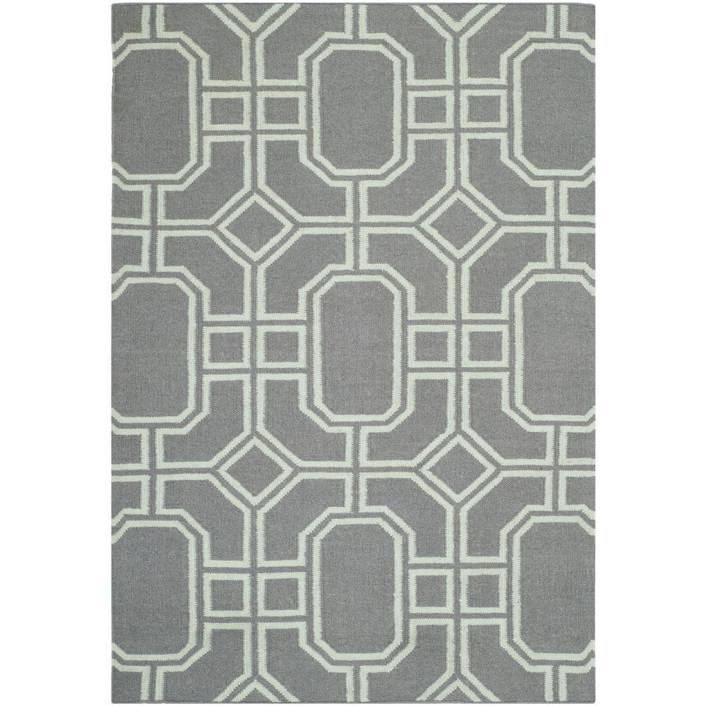 Dhurries Grey/Light Blue 4 ft. x 6 ft. Area Rug