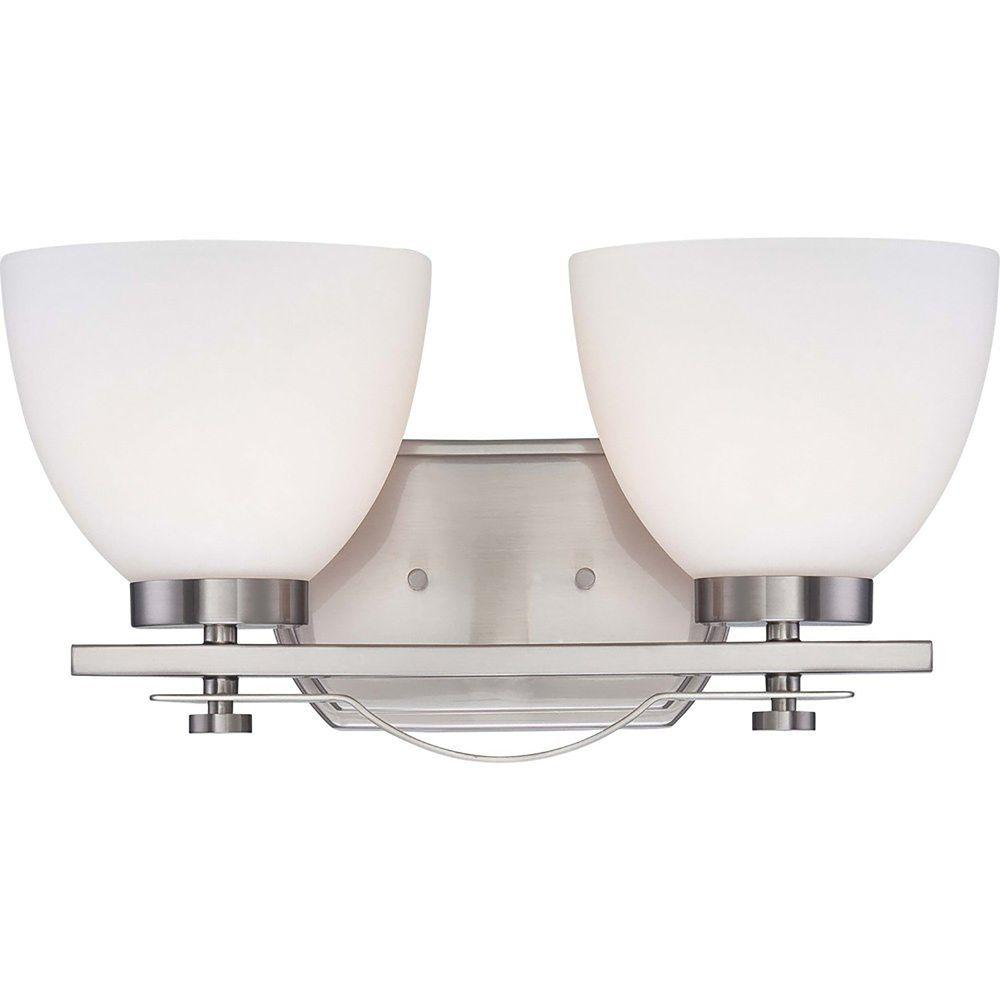 Vanity Light Shade Glass : Illumine 2-Light Brushed Nickel Vanity Fixture with Frosted Glass Shade-HD-5012 - The Home Depot