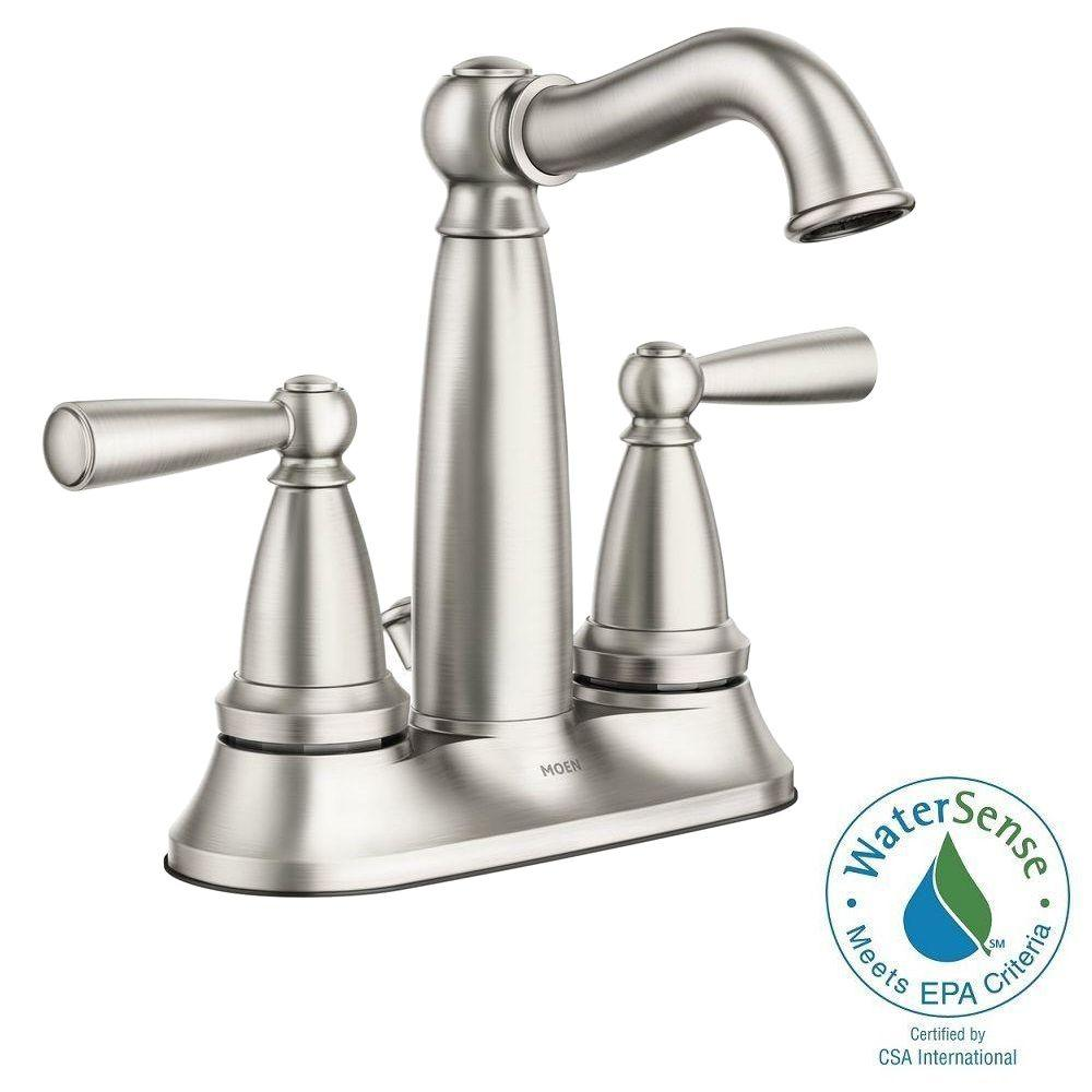 Moen Vale 4 In Centerset 2 Handle Bathroom Faucet Featuring Microban Protection In Spot Resist