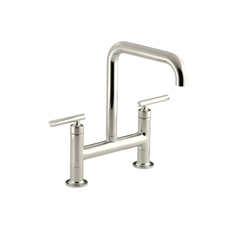 KOHLER Purist 12 in. 2-Handle Deck-Mount High-Arc Bridge Kitchen Faucet in