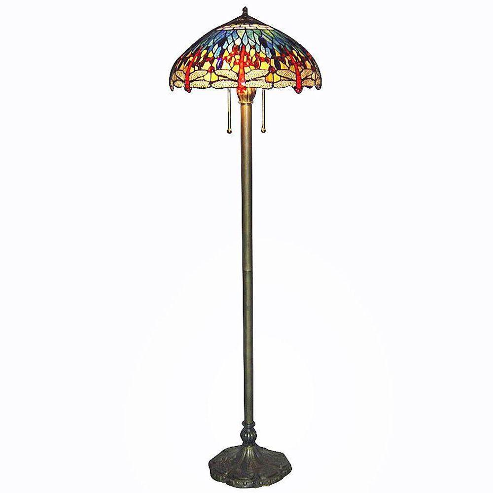 Serena D'italia Tiffany Blue Dragonfly 60 in. Bronze Floor Lamp